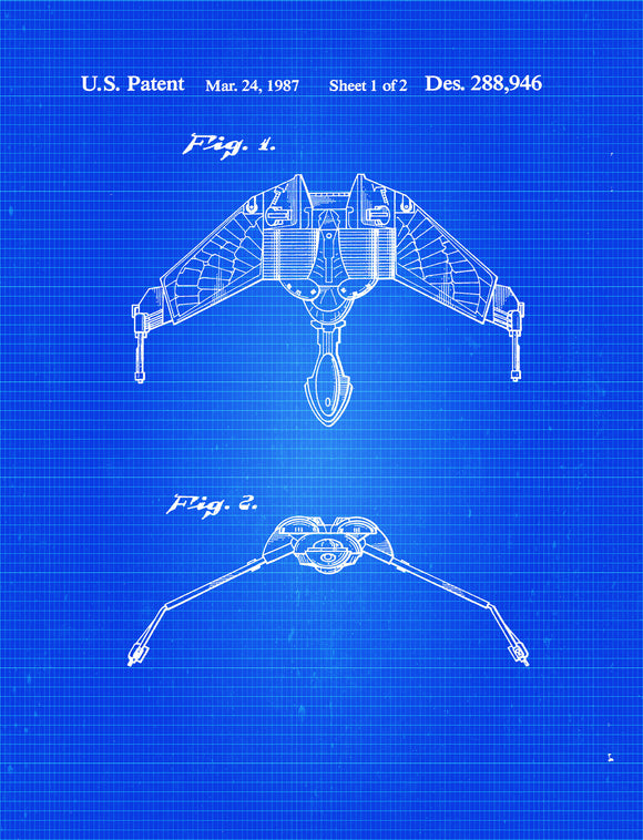 Star Trek Klingon Bird-of-Prey Blueprint Patent Wall Art Poster - Starship - Star Trek Art Print