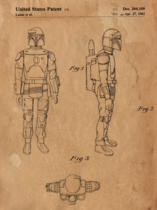 Star Wars Boba Fett Patent Print Patent Art Poster Blueprint Movie Poster Room Art Theater Art