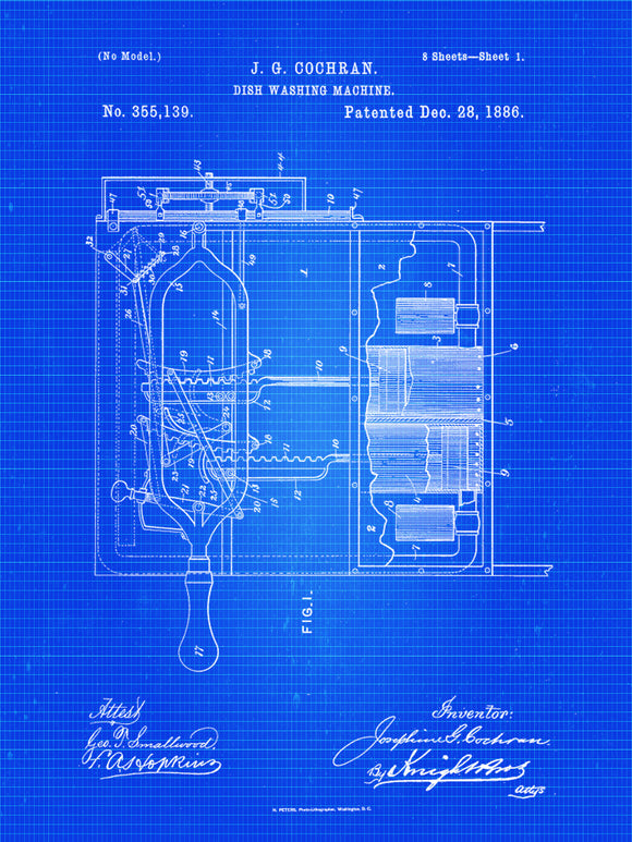 Dishwasher Patent Print From 1886 - Patent Art Print - Patent Poster - Kitchen Decor