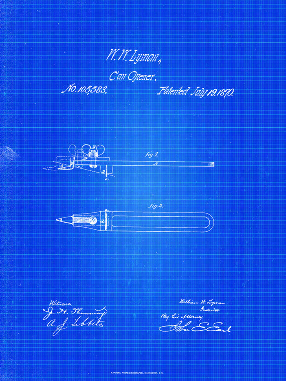 Can Opener Patent Print From 1870 - Art Print - Patent Poster - Kitchen Art - Kitchen Decor - Kitchen Poster