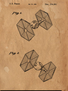 Star Wars Tie Fighter Patent Print Patent Art Poster Blueprint