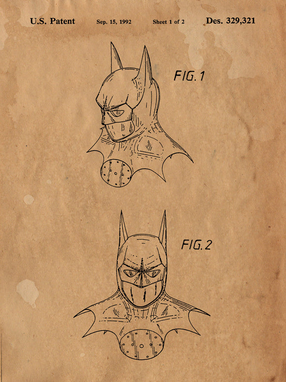 Batman Mask Patent Print - Patent Art - Patent Print - Batman Poster - Batman Decor - Batman Wall Art