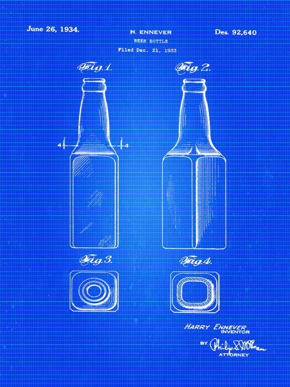 Patent Print of a Beer Bottle Patent - Art Print - Patent Poster - Beer - Beer Art - Beer Decor - Bar - Spirits - Beer Print - Beer Bottle