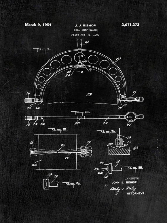 Patent Print of a Dial Snap Gauge - Patent Art Print - Patent Poster - Tools