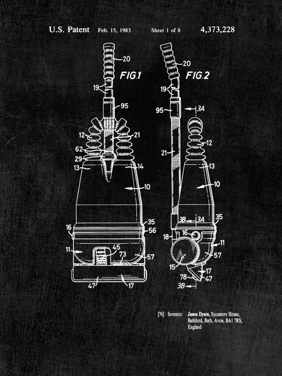 Patent Print of a Bagless Vacuum Cleaner Patent - Art Print - Patent Poster - Kitchen Art - Housekeeping Art - Housecleaning Art