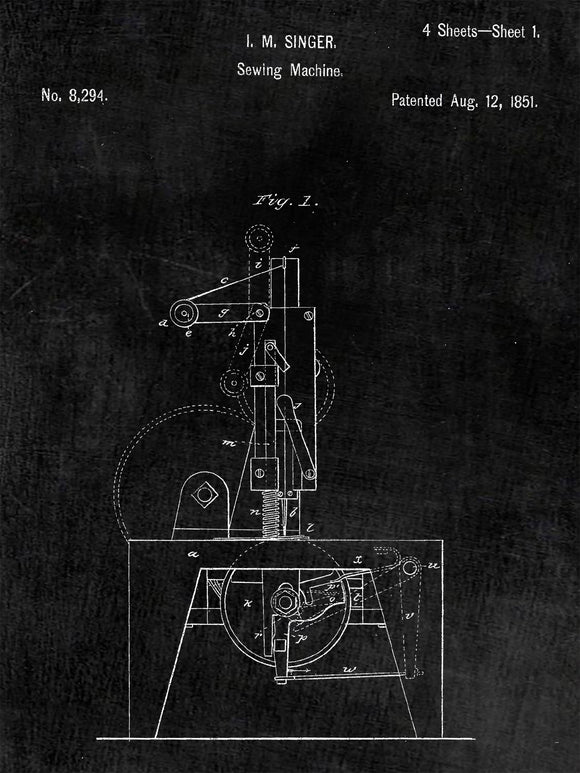Patent Poster of a Singer Sewing Machine Patent Art Print Patent Poster
