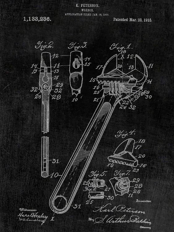 Patent Print of a Wrench Patent Art Print Patent Poster