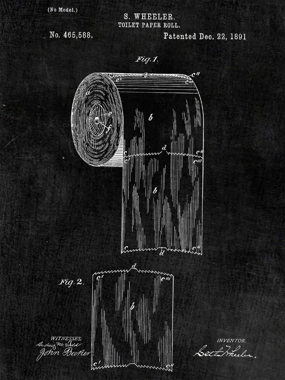 Patent Print of a Toilet Paper Roll Patent Art Print Patent Poster
