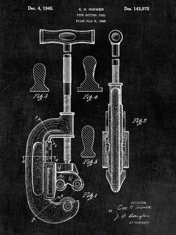 Patent Print of a Pipe Cutter From 1945 - Patent Art Print - Patent Poster - Tools