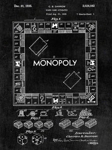 Patent Print of Monopoly Board Game Patent Art Print Patent Poster