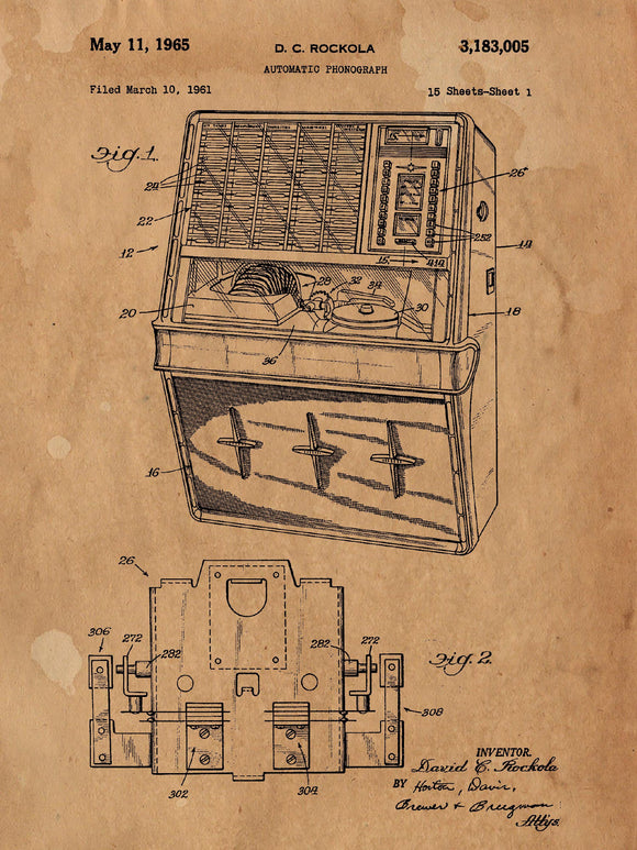 Patent Print of an Automatic Jukebox Patent Art Print Patent Poster