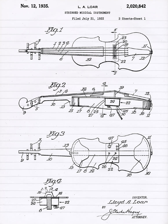Patent Print of a Violin Patent Art Print Patent Poster