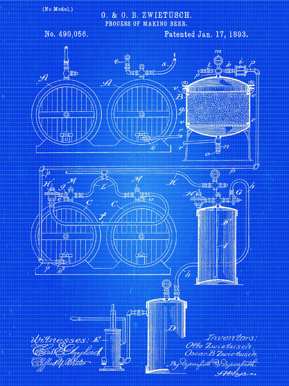 Patent Print - Beer Making Process Art Print from 1893 - Patent Poster - Beer - Beer Art - Beer Decor - Bar - Beer Print - Beer Keg