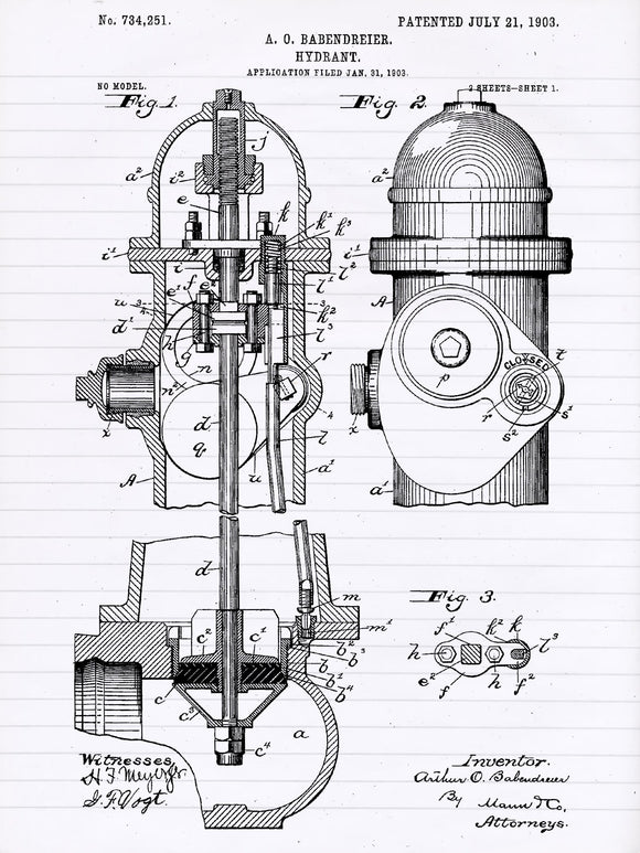 Patent Print of a Fire Hydrant From 1903 - Patent Art Print - Patent Poster - Firetruck - Fire - Fireman Decor - Fire Fighter Gift