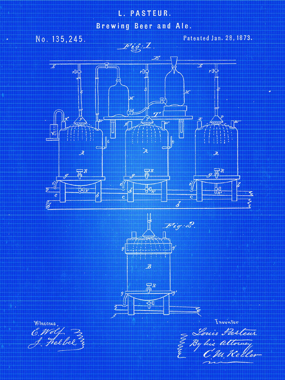 Patent Print - Brewing Beer and Ale Art Print from 1873 - Patent Poster - Beer - Beer Art - Beer Decor - Bar - Beer Print - Beer Keg