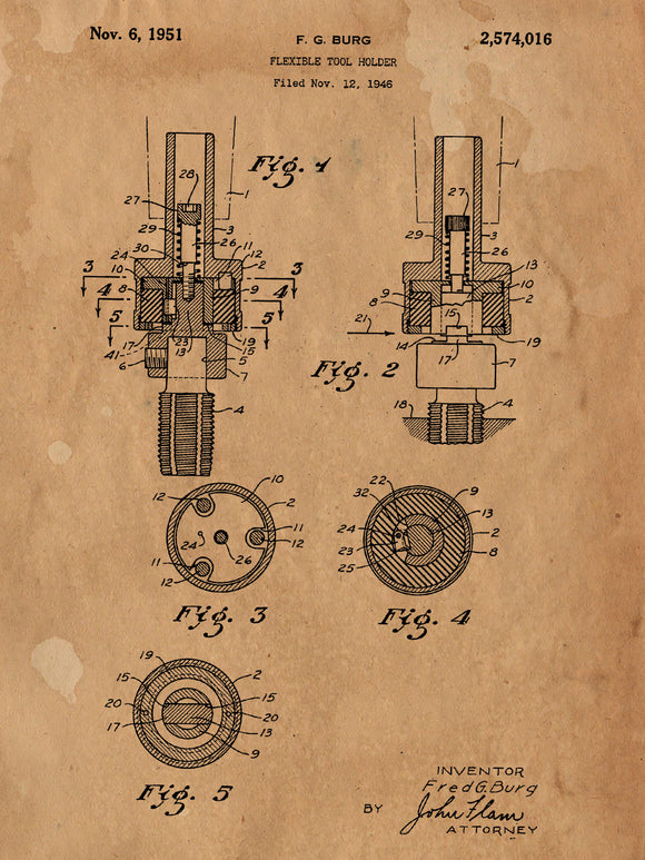 Patent Print of a Flexible Tool Holder Patent Art Print Patent Poster