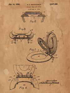 Patent Print of a Toilet Seat and Cover Patent Art Print Patent Poster Bathroom Decor