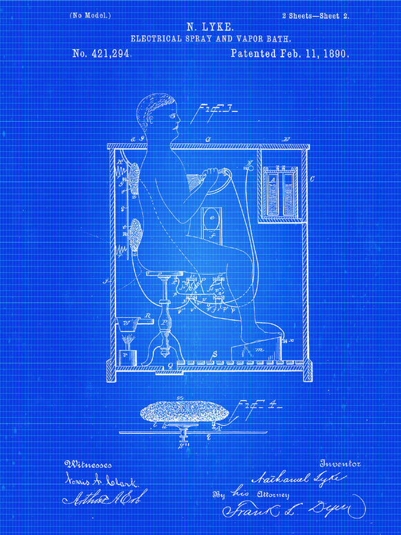 Electrical Spray and Vapor Bath Patent Print From 1890 - Patent Art Print - Patent Poster - Bathroom Art
