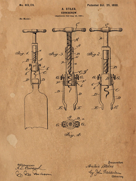 Patent Print of an 1898 Cork Screw Patent - Art Print - Patent Poster - Wine - Wine Art - Wine Tasting - Wine Decor - Bar - Corkscrew