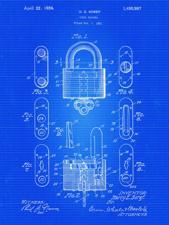 Lock Patent Print From 1921 - Patent Art Print - Patent Poster - Tools - Locksmith