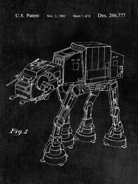 Star Wars AT-AT Imperial Walker Patent Print Patent Poster
