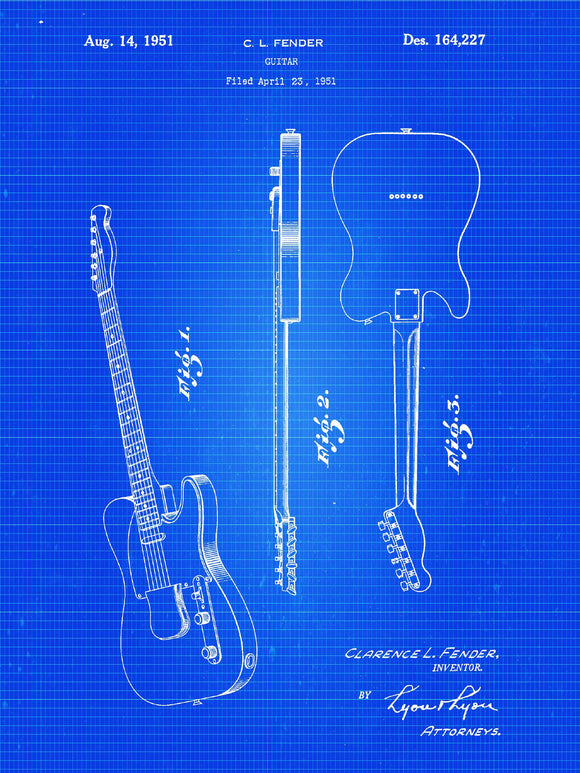 Patent Print of a Fender Guitar Patent Art Print Patent Poster