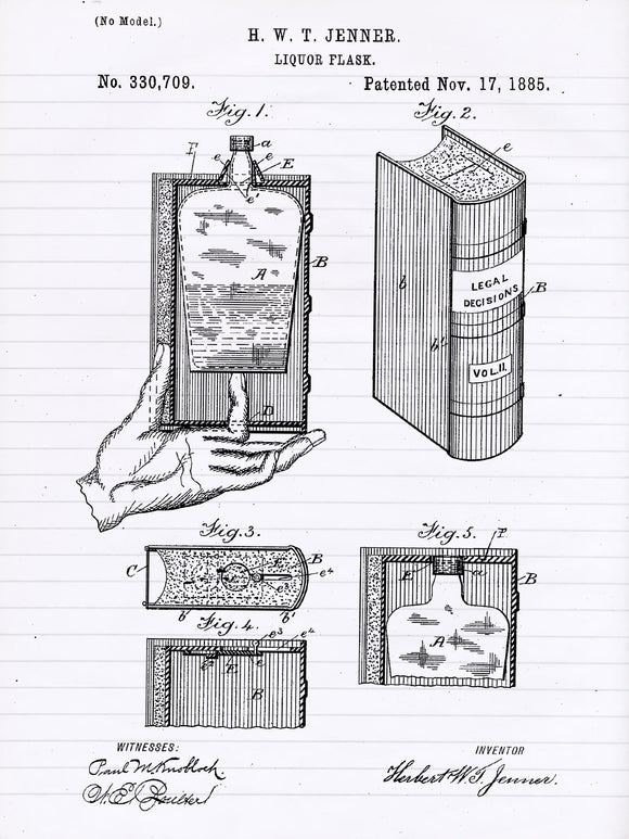 Liquor Flask Concealed In A Legal Decisions Book Patent Print from 1885 - Patent Poster - Bar Art - Law Student - Lawyer Art