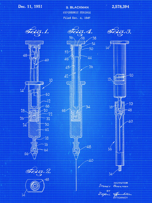 Hypodermic Syringe Patent Print - Patent Art Print - Patent Poster - Doctor Office - Doctor Art - Physician Art - Nurse Student - Paramedic