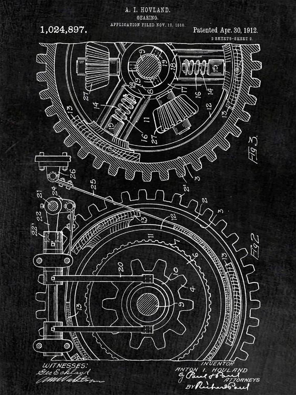 Patent Print of Gears From 1912 - Patent Art Print - Patent Poster - Gearing - Wall Art - Gears Poster