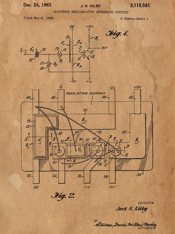First Integrated Circuit Patent Poster - Patent Poster - Office Art - Wall Art