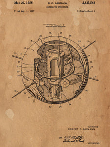 Earth Satellite Patent Poster - Patent Art - Patent Print - Patent Poster -  NASA Poster - Antique Patent