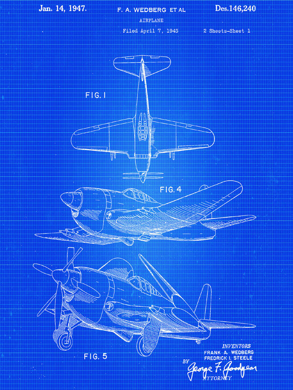 1947 Airplane Canvas Patent Art - Patent Art - Patent Print - Patent Poster -  Wall Art - Airplane Canvas