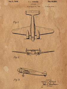 Electra Airplane Patent Poster - Patent Art - Patent Print - Patent Poster -  Wall Art - Plane Nursery