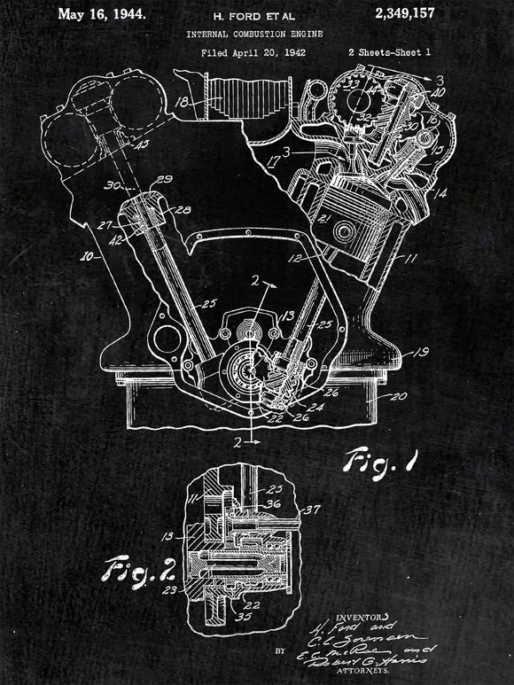 Internal Combustion Engine Poster - Patent Art - Patent Print - Patent Poster -  Wall Art -  Tank Engine