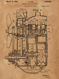 Internal Combustion Engine Patent Poster - Patent Art - Patent Print - Patent Poster -  Wall Art -  Tank Engine