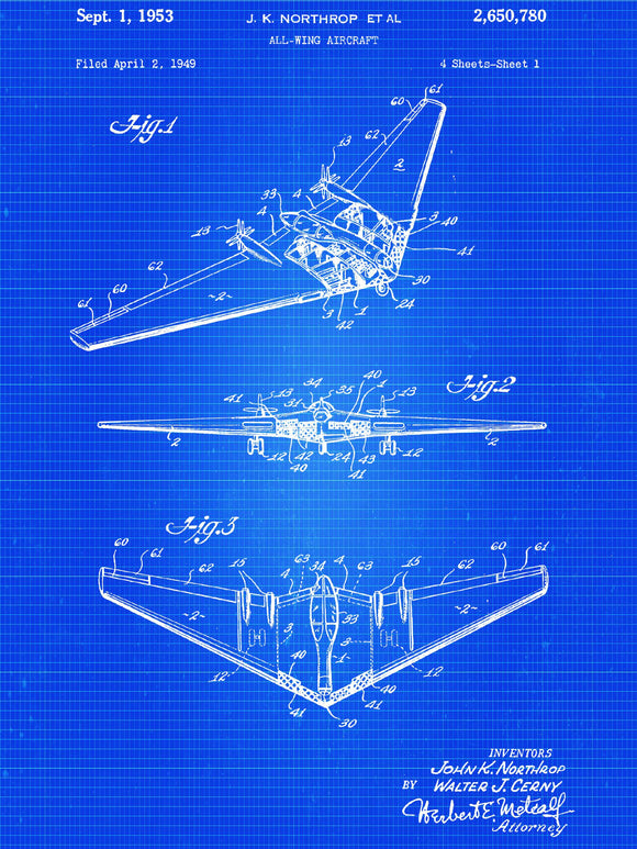 Northrop All-Wing Aircraft Patent Poster - Patent Art - Patent Print - Patent Poster -  Wall Art - Aircraft Art