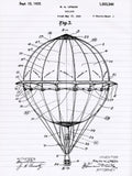 Hot Air Balloon 1923 Patent Poster- Patent Print - Patent Poster - Office Art -