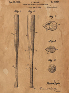 Vintage Baseball Bat 1939 Patent Poster - Patent Poster - Office Art - Wall Art - Baseball Wall Art