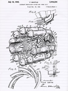 Jet Engine Patent Poster - Patent Art - Patent Print - Patent Poster -  Wall Art - Airplane Decor