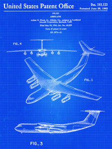 Lockheed C-141 Starlifter Patent Poster - Patent Art - Patent Print - Patent Poster -  Wall Art - Airplane Decor