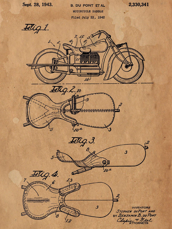 Motorcycle Saddle Patent Poster - Patent Art - Patent Print - Patent Poster -  Wall Art - Motorcycle Wall Art