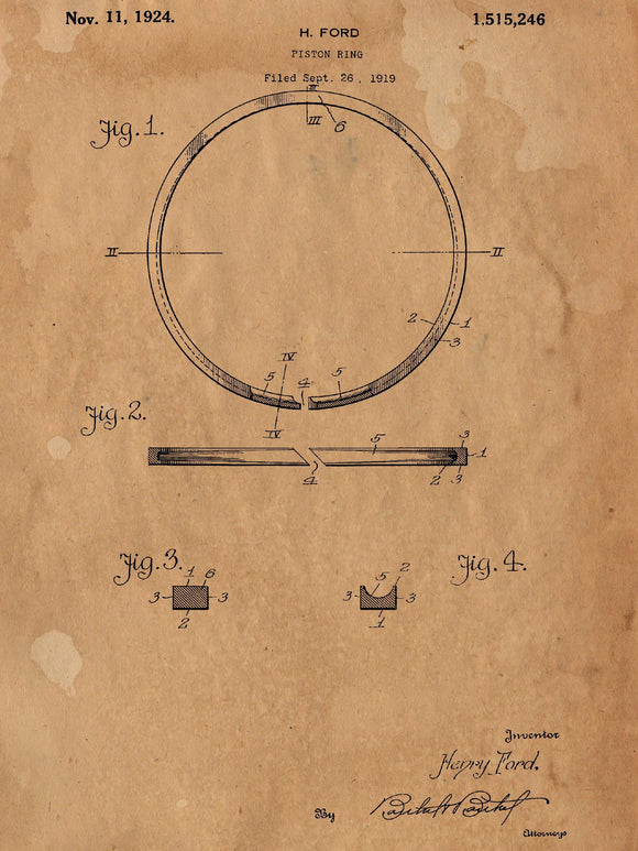 Piston Ring Patent Poster - Patent Art - Patent Print - Patent Poster -  Wall Art - Automotive Decor