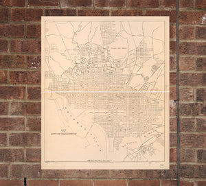 Vintage Washington DC Print, Old Washington DC Photo, Vintage Washington DC Pic, Washington dc Map Poster