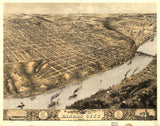 Kansas City MO Vintage Print Poster 1869 Birds Eye View Missouri