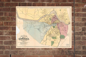Lowell MA, Vintage Print Poster of  Massachusetts 1881