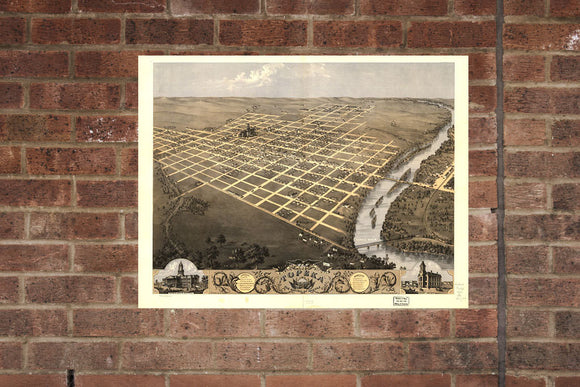 Topeka KS Vintage Print Poster 1869 Birds Eye View Kansas