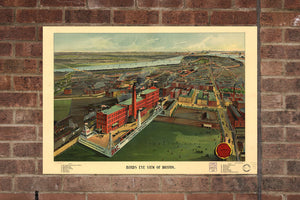 Boston MA Vintage Print Poster 1902 Birds Eye View Massachusetts