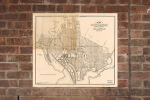 Washington DC Vintage Print Poster Map in 1884 District of Columbia