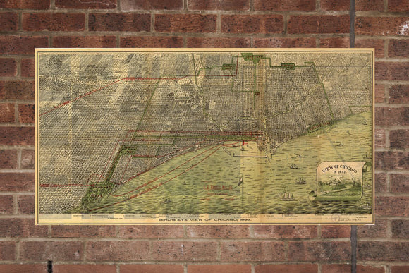 Vintage Chicago Print, Aerial Chicago Photo, Vintage Chicago IL Pic, Old Chicago Photo, Chicago Illinois Poster, 1893