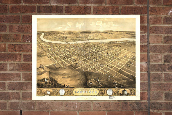 Lawrence KS Vintage Print Poster 1869 Birds Eye View